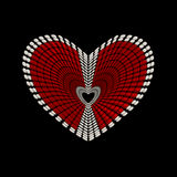 Heart shape conceptual design. Made from red and white seed beads isolated on black background Stock Photo