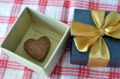 Heart Shape Cookie in Gift Box stock photography