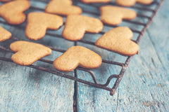heart shape cookies on a blue table style shabby instagram Stock Photography