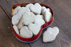 Heart shape cookies with coconut icing Royalty Free Stock Image
