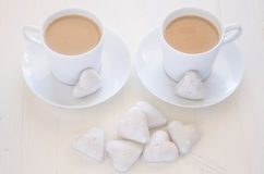 Heart-shape cookies and coffee stock photography