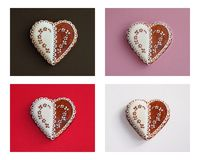 Heart shape cookies on color backgrounds. Royalty Free Stock Photography