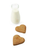 Heart shape cookies and milk Royalty Free Stock Photography