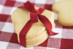 Heart shape cookies with red ribbon Royalty Free Stock Photography