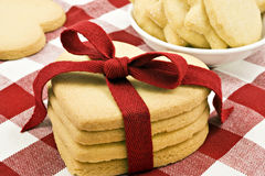 Heart shape cookies with red ribbon Stock Photo