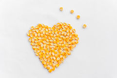 Heart shape of corn seeds Royalty Free Stock Image