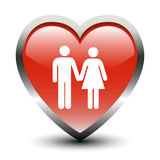 Heart Shape Couple Icon. Heart Shape Couple Sign Icon stock illustration
