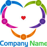 Heart shape couples logo Royalty Free Stock Photography