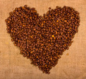 Heart shape created with coffee beans Stock Photography