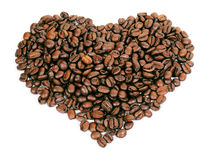 A heart shape created with coffee beans Stock Photography