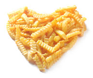Heart shape from crinkle cut potato chips Royalty Free Stock Image