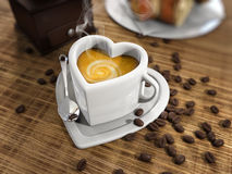 Heart shape cup of coffee Royalty Free Stock Image