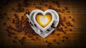 Heart shape cup of latte Royalty Free Stock Photos