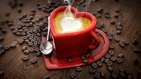Heart shape cup with latte and coffee beans Royalty Free Stock Image