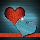 Heart Shape cut on Blue Wooden Wall Stock Image