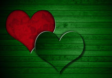 Heart Shape cut on Green Wooden Wall Royalty Free Stock Photography