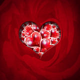 Heart Shape cut on Red Velvet Royalty Free Stock Photo