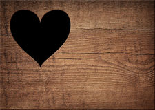 Heart shape cut on wooden wall, toilet, wc door or Royalty Free Stock Photos
