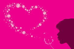 Heart shape of dandelion fluff. Vector illustration of a dandelion fluff of a heart shape Royalty Free Illustration