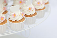 Heart shape decoration on cupcakes Stock Image
