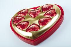 Heart shape delicious chocolate in box Stock Photos