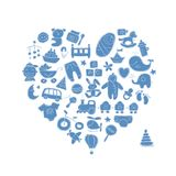 Heart shape design with toys for baby boy Royalty Free Stock Image