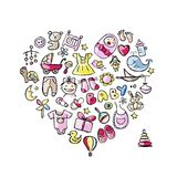Heart shape design with toys for baby girl Stock Images