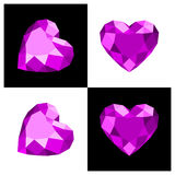 Heart shape diamond icon. Heart shape diamond design in flat color Royalty Free Stock Image