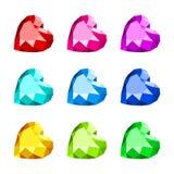 Heart shape diamond icon. Set of diamond heart shape with various colors vector illustration