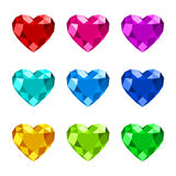 Heart shape diamond icon. Set of diamond heart shape with various colors Stock Images