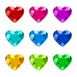 Heart shape diamond icon. Set of diamond heart shape with various colors stock illustration