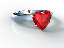 Heart shape diamond ring Royalty Free Stock Photos