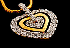 Heart shape diamonds locket Royalty Free Stock Photography