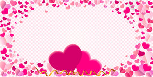 Heart shape different pink confetti vector frame with two big he Royalty Free Stock Image