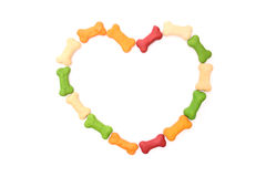 Heart shape with dog biscuits Royalty Free Stock Photography