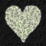 Heart shape with dollar bill Stock Photography