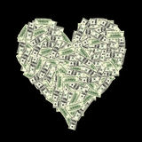 Heart shape with dollar bill Stock Image