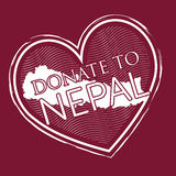Heart shape donate to nepal banner stamp style on deep red backg Stock Photo