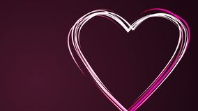 Heart shape drawing by pink color brush on dark purple background. Happy Valentine Day or wedding. Loopable. Empty space. Heart shape drawing by pink color brush stock footage
