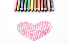 Heart Shape Drawing on White Paper royalty free stock photography
