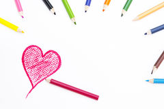 Heart Shape Drawing on White Paper stock photography