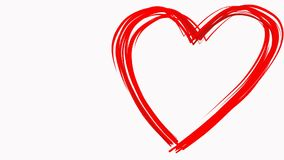 Heart shape drawn like by paintbrush red color on white background. Love sign symbol. Valentines day. Loopable. Empty. Heart shape drawn like by paintbrush red stock footage