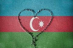Heart shape drawning on sand with blending  Azerbaijan flag Stock Photos
