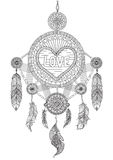 Heart shape dream catcher with beautiful feathers for coloring book for adult, wedding invitation and valentine`s card Royalty Free Stock Photos
