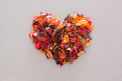 Heart shape of dried flowers and leaves. Top view Royalty Free Stock Photos