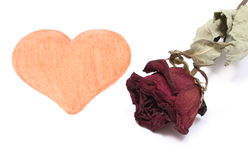 Heart shape and dried red rose on white background Royalty Free Stock Photos