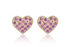Heart shape earrings Stock Image