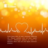 Heart shape ECG line. Heart shape ECG line over blurred background. Vector illustration Royalty Free Stock Image