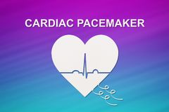 Heart shape with echocardiogram and CARDIAC PACEMAKER text. Cardiology concept Stock Photography