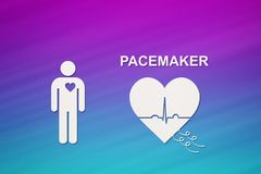 Heart shape with echocardiogram and PACEMAKER text. Cardiology concept Royalty Free Stock Photo
